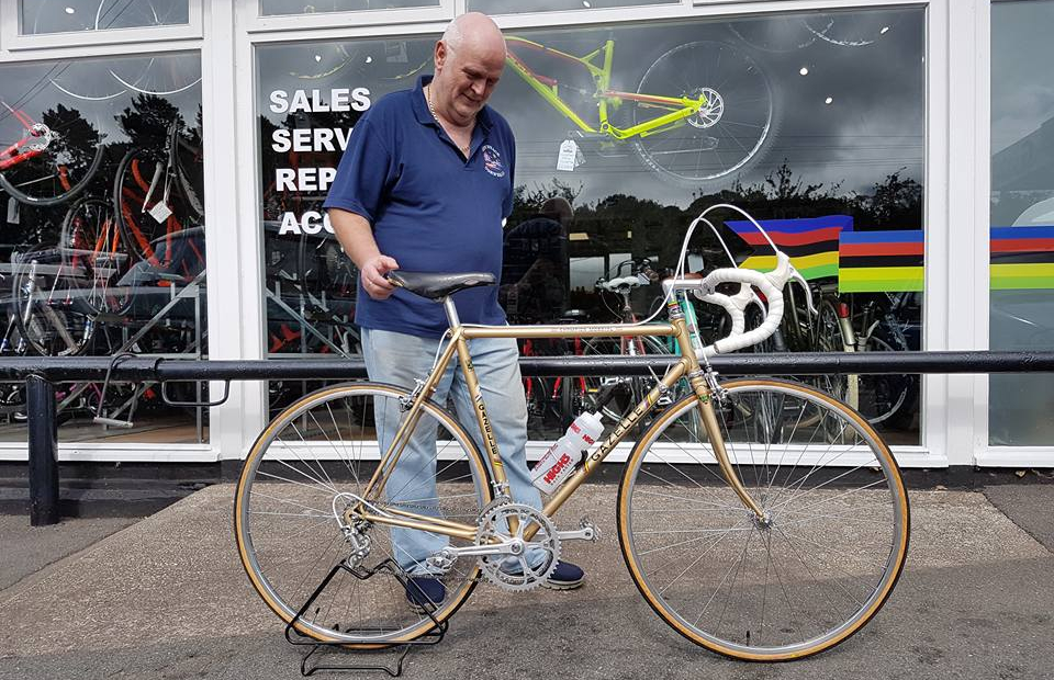 Brian with his commissioned vintage Gazelle road bike from  					Life on Vintage Wheels, Holywell, North Wales